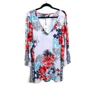 Leota Tops - Leota White Floral Flounce Sleeve Top Sz 4X
